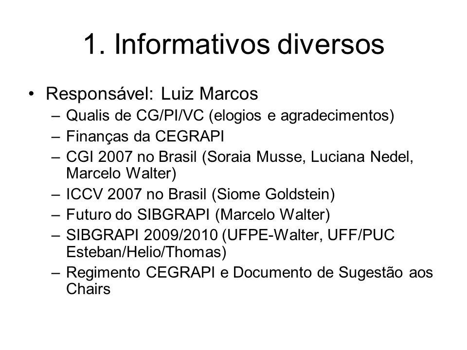 1. Informativos diversos Responsável: Luiz Marcos –Qualis de CG/PI/VC (elogios e agradecimentos) –Finanças da CEGRAPI –CGI 2007 no Brasil (Soraia Muss