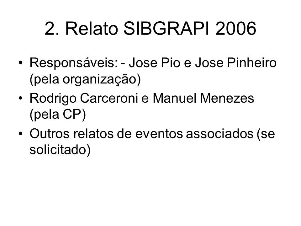 2. Relato SIBGRAPI 2006 Responsáveis: - Jose Pio e Jose Pinheiro (pela organização) Rodrigo Carceroni e Manuel Menezes (pela CP) Outros relatos de eve
