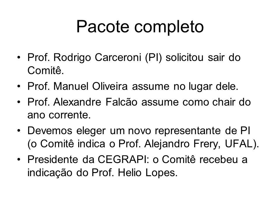 Pacote completo Prof. Rodrigo Carceroni (PI) solicitou sair do Comitê.