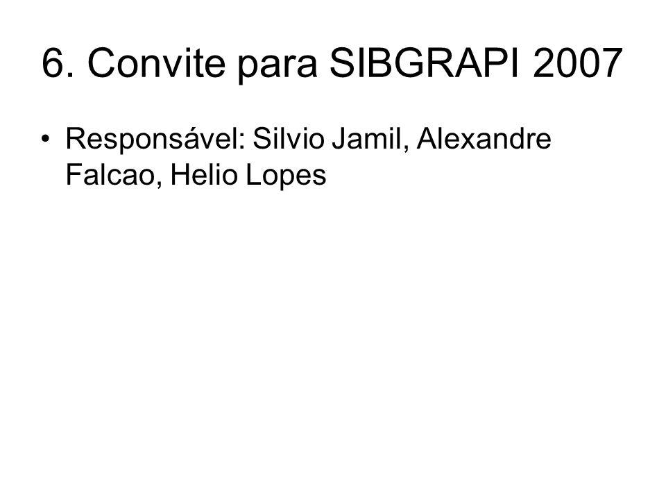 6. Convite para SIBGRAPI 2007 Responsável: Silvio Jamil, Alexandre Falcao, Helio Lopes