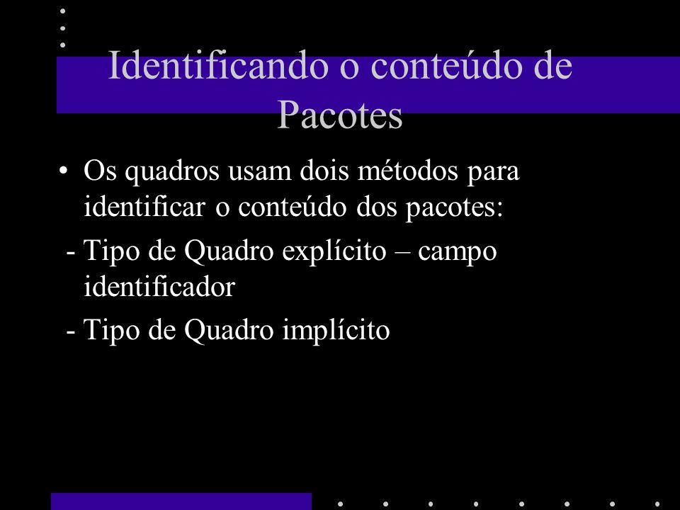 Cabeçalho e Formato de Quadro Cada tecnologia usa um formato de quadro Consiste em duas parte: - cabeçalho (frame header) - Área de dados(payload) Tamanho não é fixo.