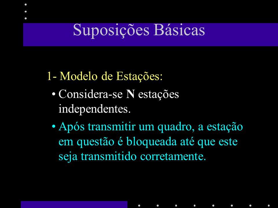 Suposições Básicas 2 - Suposição de Canal Único: Um único canal é disponível para todas as estações.
