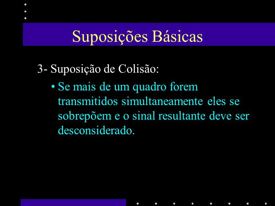 Suposições Básicas 4- Aspectos Temporais 4a- Tempo Contínuo –A transmissão do quadro pode começar a qualquer momento, pois não há relógio mestre para controlar o tempo em intervalos discretos.