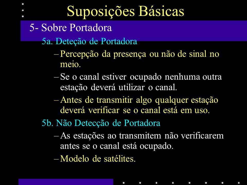 Protocolos de Acesso Múltiplos Acesso Aleatório ALOHA (Universidade do Hawaii, 1970) –Broadcasting via rádio –ALOHA Puro Não requer sincronização global de tempo.