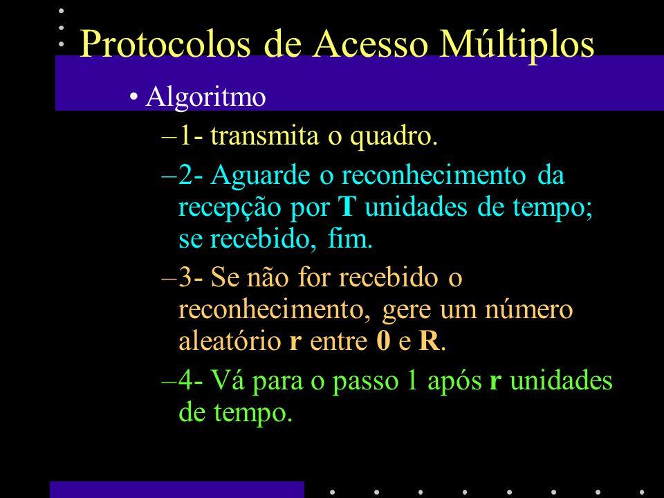 Protocolos de Acesso Múltiplos Caso haja colisão, o quadro será propagado com erro, causando o seu descarte no destino.