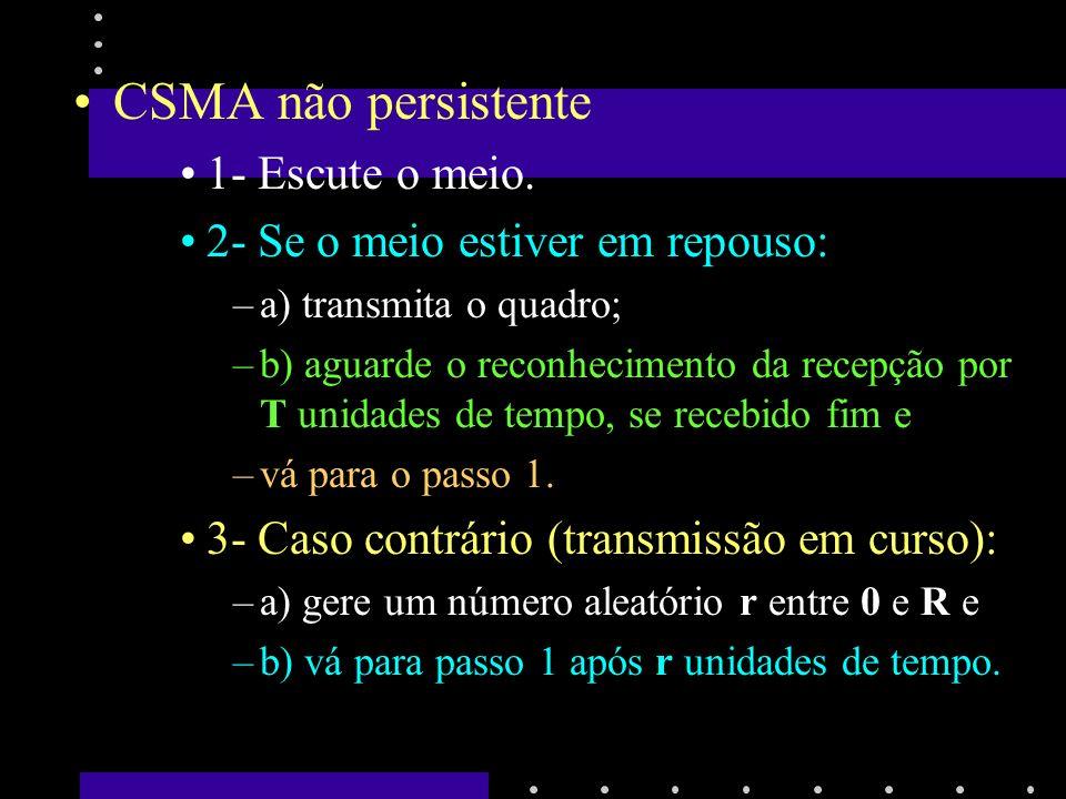 Protocolos de Acesso Múltiplos CSMA persistente –CSMA 1-persistente (probabilidade 1 de transmissão) Idêntico ao anterior Intervalo aleatório r igual a zero.