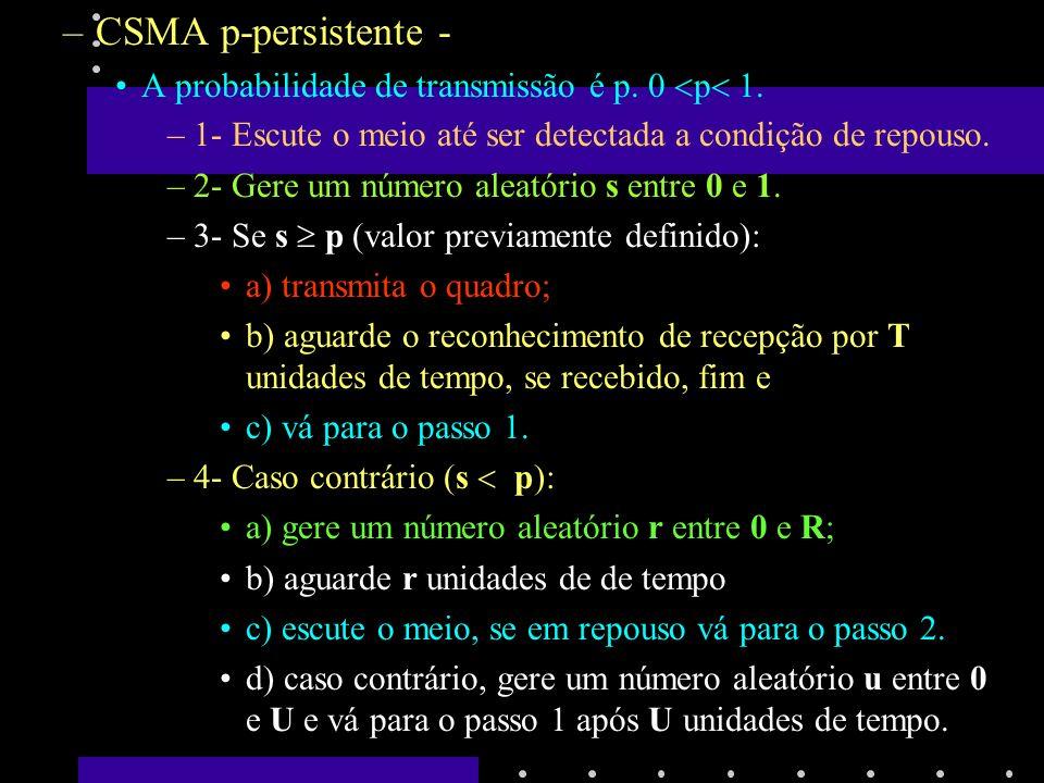 Protocolo CSMA-CD - Detecção de Colisão (Collision Detection) –Ao detectar a colisão, o emissor suspende imediatamente a transmissão.