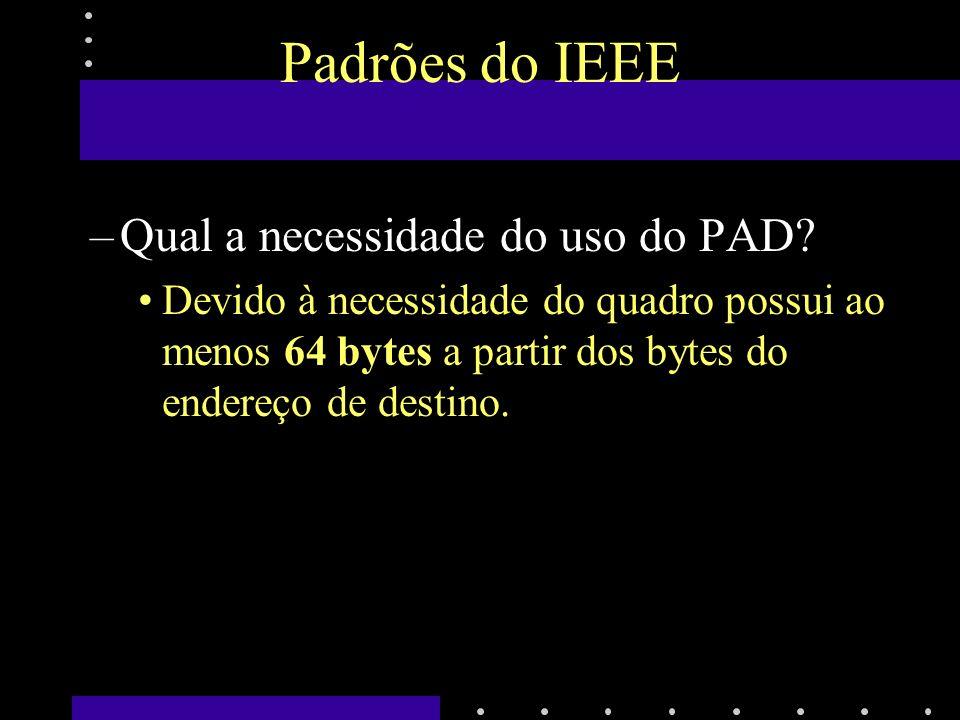 Padrões do IEEE –Quais são as necessidades de se ter um tamanho mínimo para o quadro.