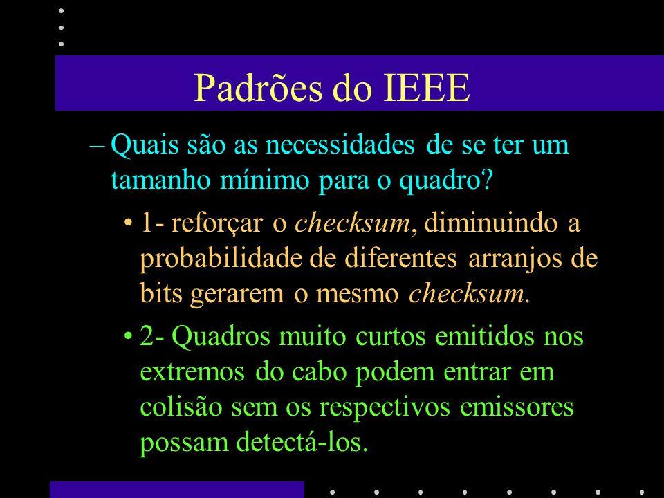 Padrões do IEEE –Endereço de broadcast: todos os bits de endereço de destino têm valor igual a 1.