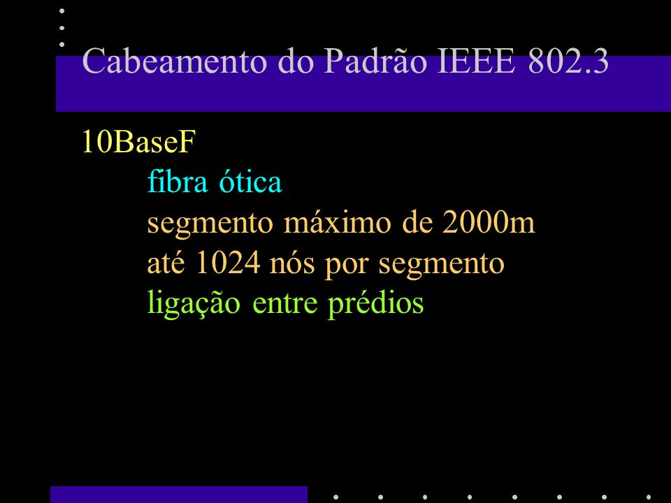 802.3 De longe, o mais utilizado.Protocolo simples.