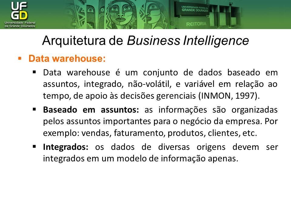 Arquitetura de Business Intelligence Data warehouse: Data warehouse é um conjunto de dados baseado em assuntos, integrado, não-volátil, e variável em