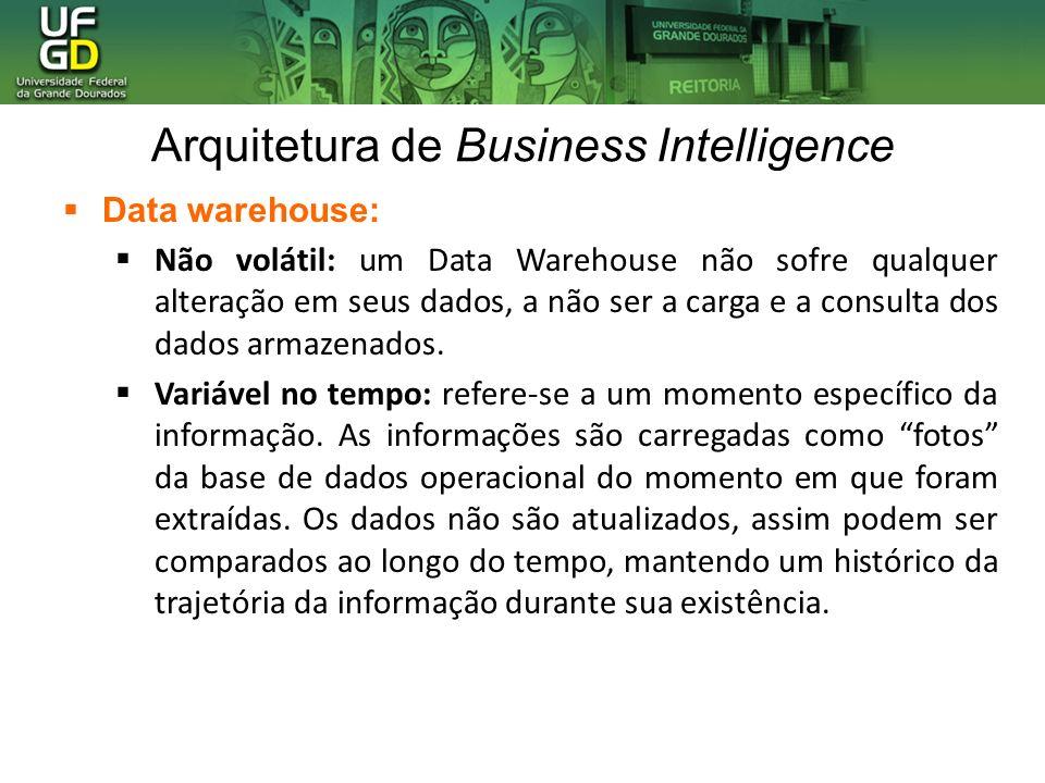 Arquitetura de Business Intelligence Data warehouse: Não volátil: um Data Warehouse não sofre qualquer alteração em seus dados, a não ser a carga e a