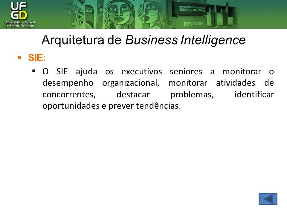 Arquitetura de Business Intelligence SIE: O SIE ajuda os executivos seniores a monitorar o desempenho organizacional, monitorar atividades de concorre