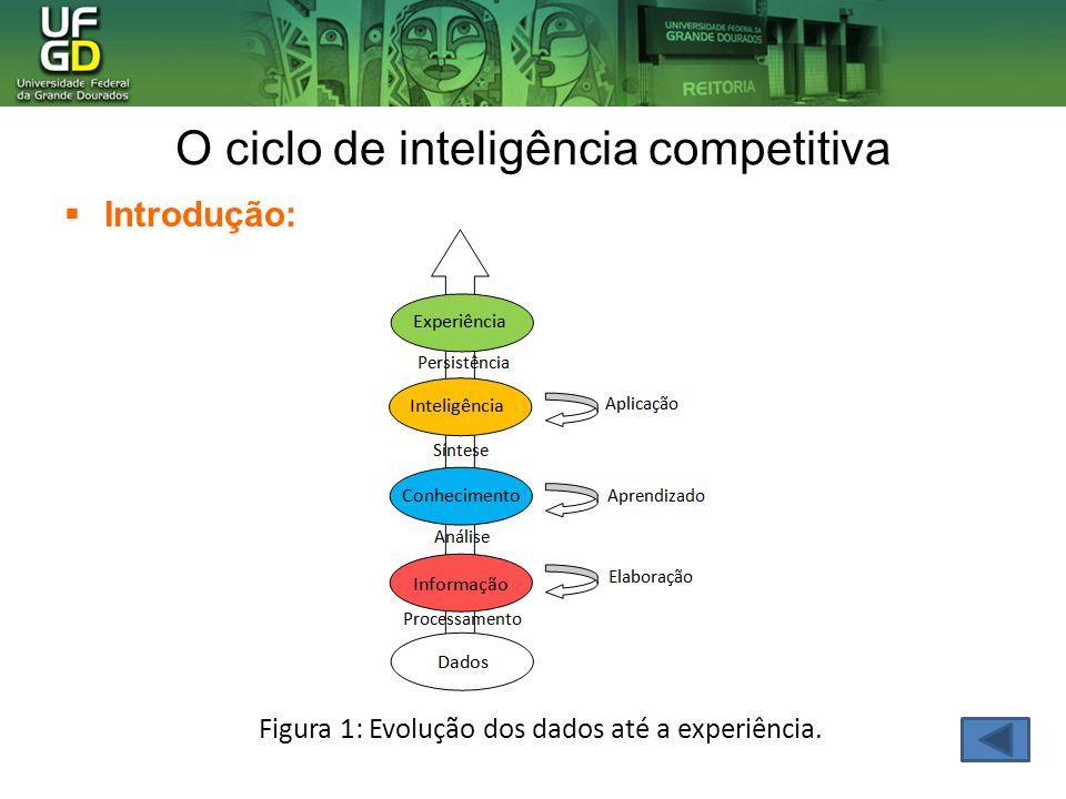 O ciclo de inteligência competitiva Introdução: Figura 1: Evolução dos dados até a experiência.