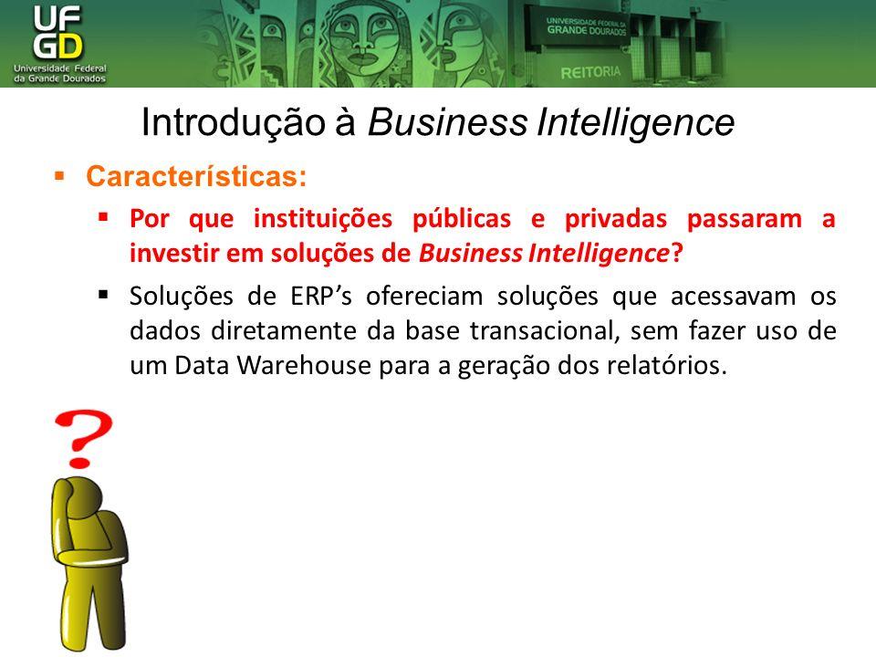 Introdução à Business Intelligence Características: Por que instituições públicas e privadas passaram a investir em soluções de Business Intelligence?