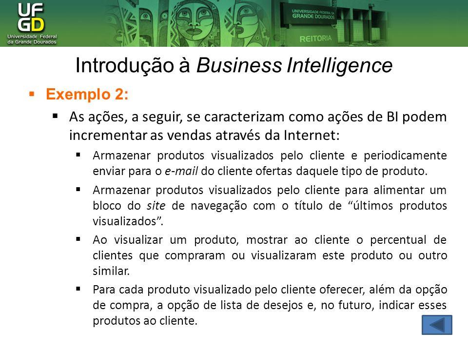 Introdução à Business Intelligence Exemplo 2: As ações, a seguir, se caracterizam como ações de BI podem incrementar as vendas através da Internet: Ar