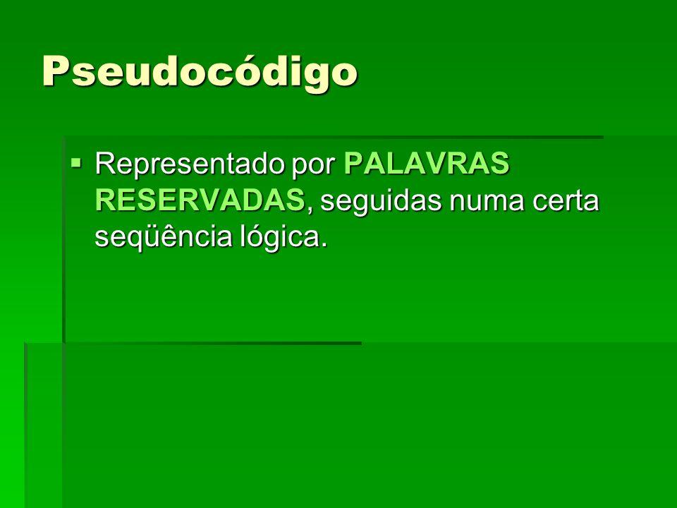 Pseudocódigo Representado por PALAVRAS RESERVADAS, seguidas numa certa seqüência lógica. Representado por PALAVRAS RESERVADAS, seguidas numa certa seq
