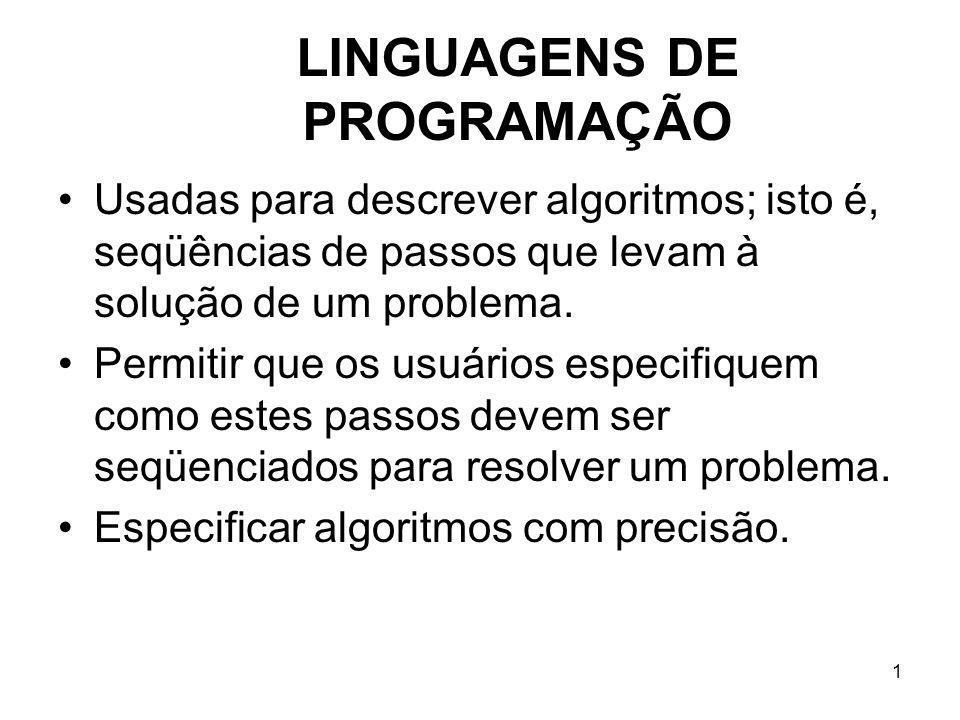 1 LINGUAGENS DE PROGRAMAÇÃO Usadas para descrever algoritmos; isto é, seqüências de passos que levam à solução de um problema. Permitir que os usuário