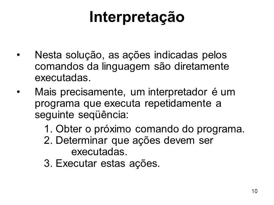 10 Interpretação Nesta solução, as ações indicadas pelos comandos da linguagem são diretamente executadas. Mais precisamente, um interpretador é um pr