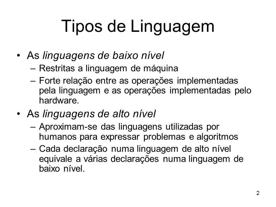 3 Primeiras Linguagens Programadores usavam linguagem de máquina –Seqüências de dígitos binários (0s e 1s).