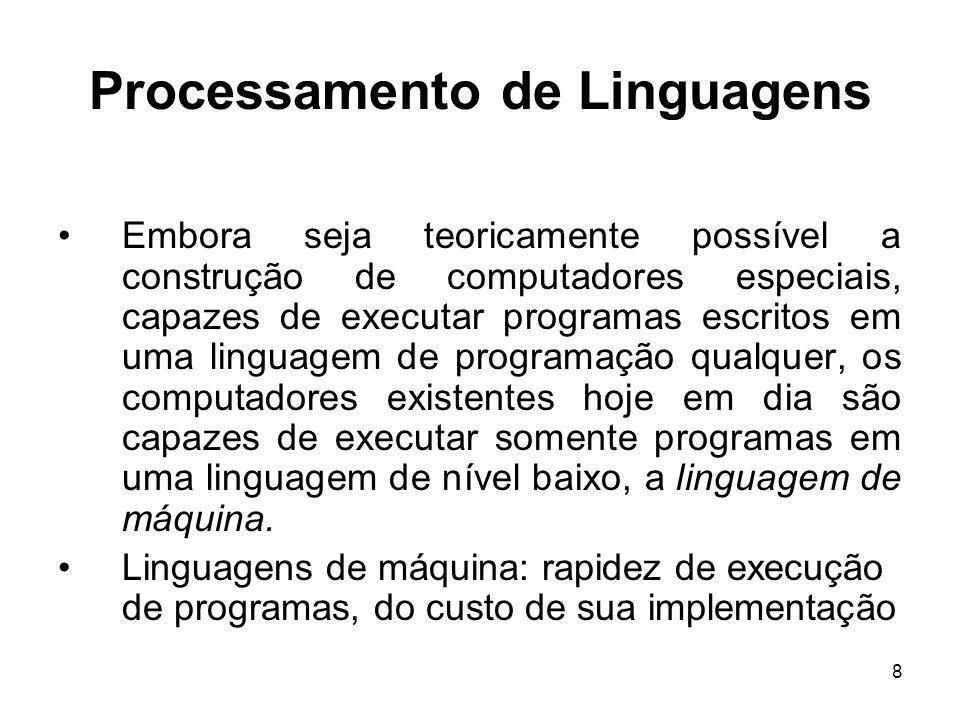 9 Processamento de Linguagens Linguagens de programação: facilidade na construção e da confiabilidade de programas Um problema básico:como uma linguagem de nível mais alto pode ser implementada em um computador cuja linguagem de máquina é bastante diferente, e de nível bem mais baixo.