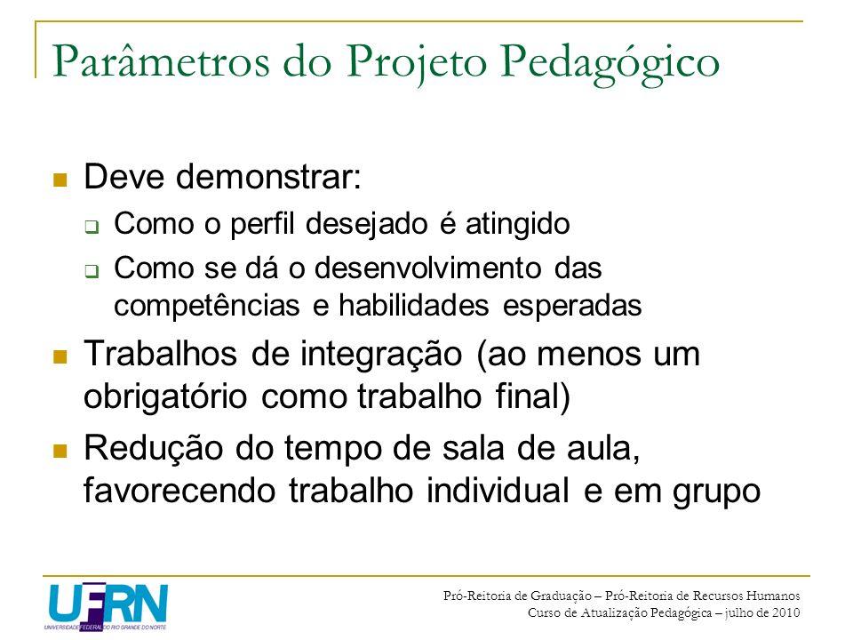 Pró-Reitoria de Graduação – Pró-Reitoria de Recursos Humanos Curso de Atualização Pedagógica – julho de 2010 Parâmetros do Projeto Pedagógico Deve dem