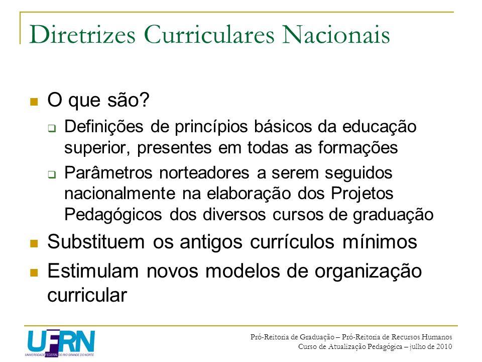 Pró-Reitoria de Graduação – Pró-Reitoria de Recursos Humanos Curso de Atualização Pedagógica – julho de 2010 Diretrizes Curriculares Nacionais O que s
