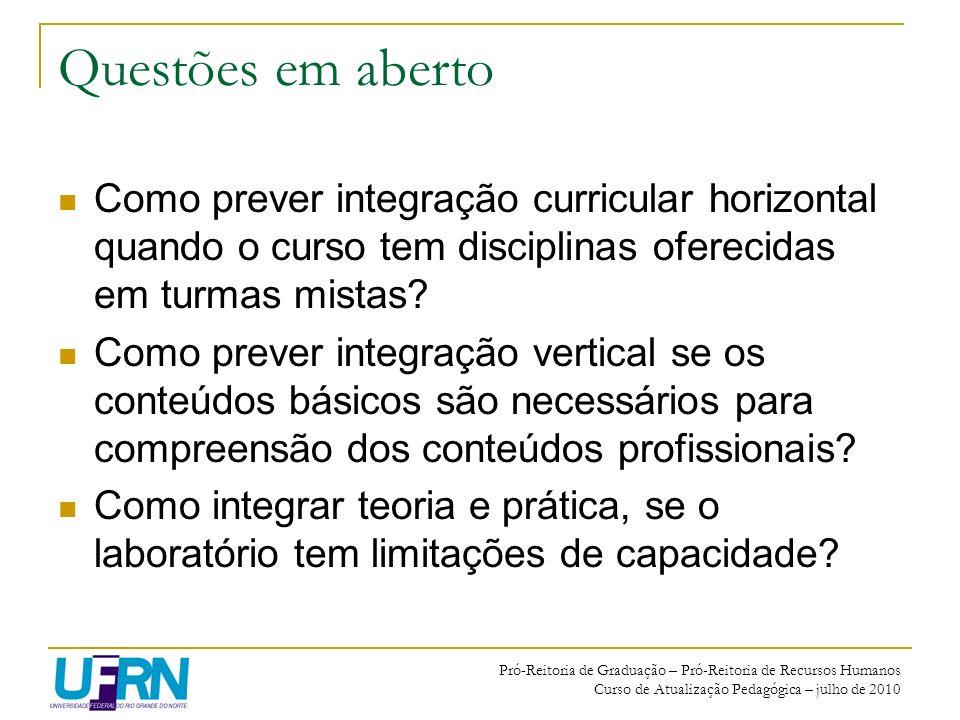 Pró-Reitoria de Graduação – Pró-Reitoria de Recursos Humanos Curso de Atualização Pedagógica – julho de 2010 Questões em aberto Como prever integração
