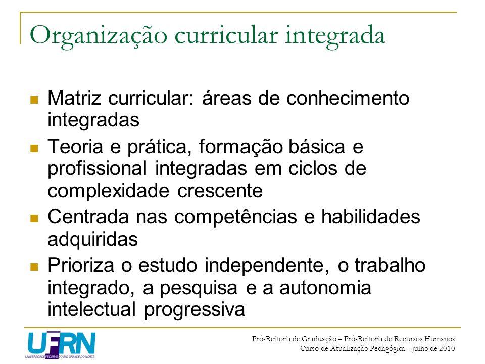 Pró-Reitoria de Graduação – Pró-Reitoria de Recursos Humanos Curso de Atualização Pedagógica – julho de 2010 Organização curricular integrada Matriz c