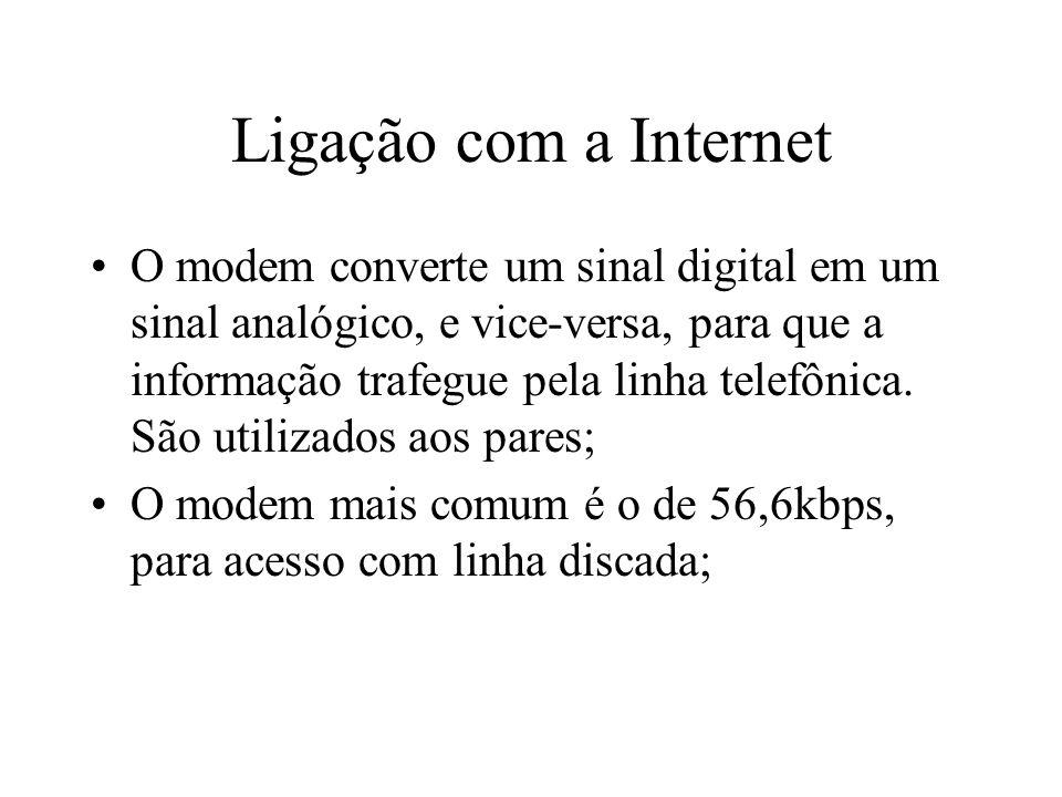 Ligação com a Internet O modem converte um sinal digital em um sinal analógico, e vice-versa, para que a informação trafegue pela linha telefônica.