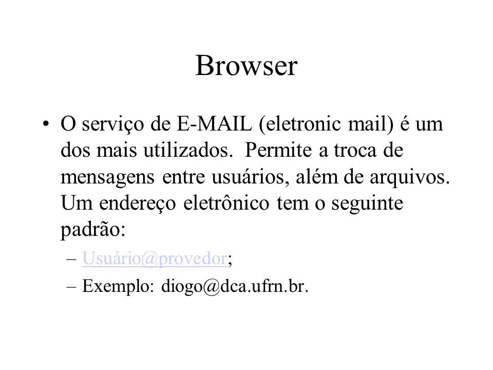 Browser O serviço de E-MAIL (eletronic mail) é um dos mais utilizados.