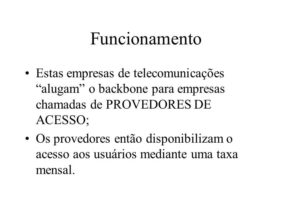 Funcionamento Estas empresas de telecomunicações alugam o backbone para empresas chamadas de PROVEDORES DE ACESSO; Os provedores então disponibilizam o acesso aos usuários mediante uma taxa mensal.
