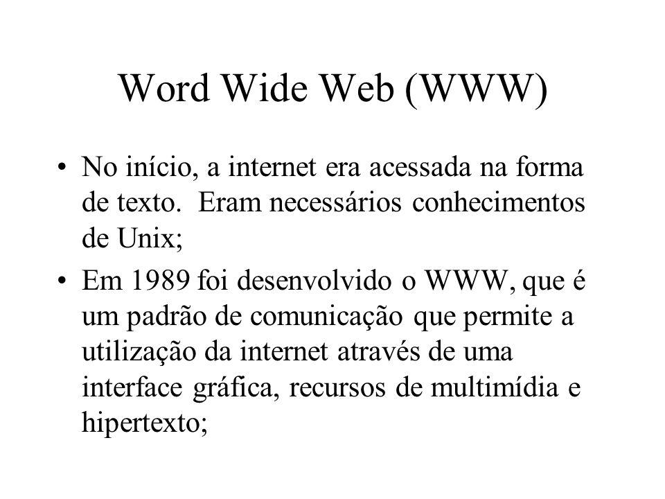 Word Wide Web (WWW) No início, a internet era acessada na forma de texto.