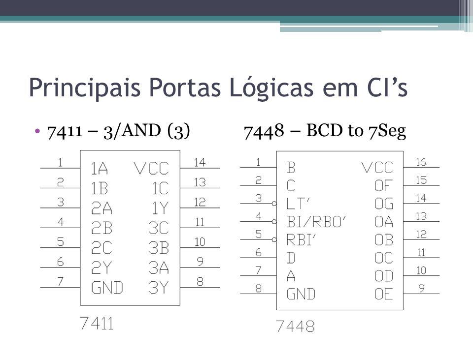 Principais Portas Lógicas em CIs 7411 – 3/AND (3) 7448 – BCD to 7Seg