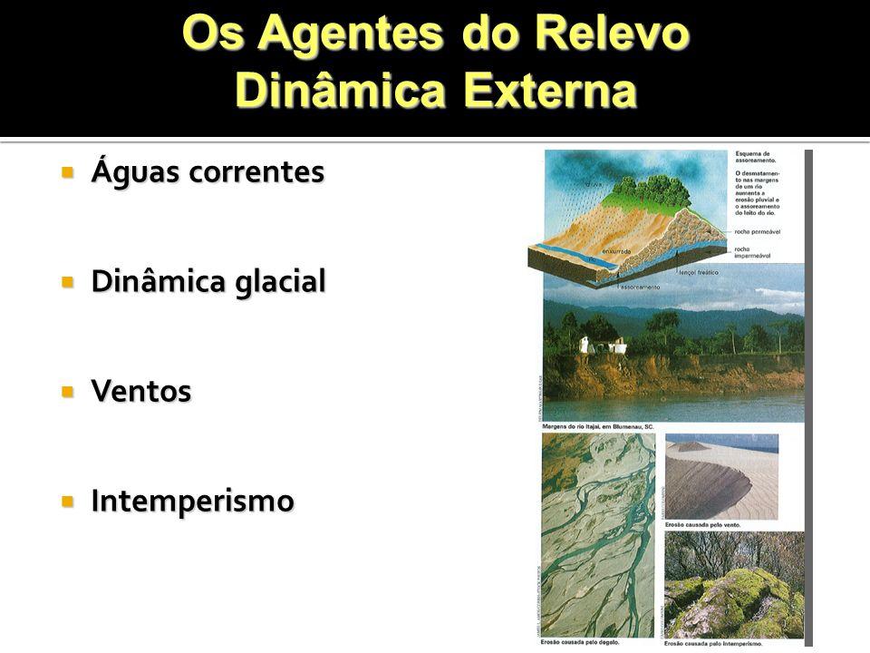 Águas correntes Águas correntes Dinâmica glacial Dinâmica glacial Ventos Ventos Intemperismo Intemperismo Os Agentes do Relevo Dinâmica Externa