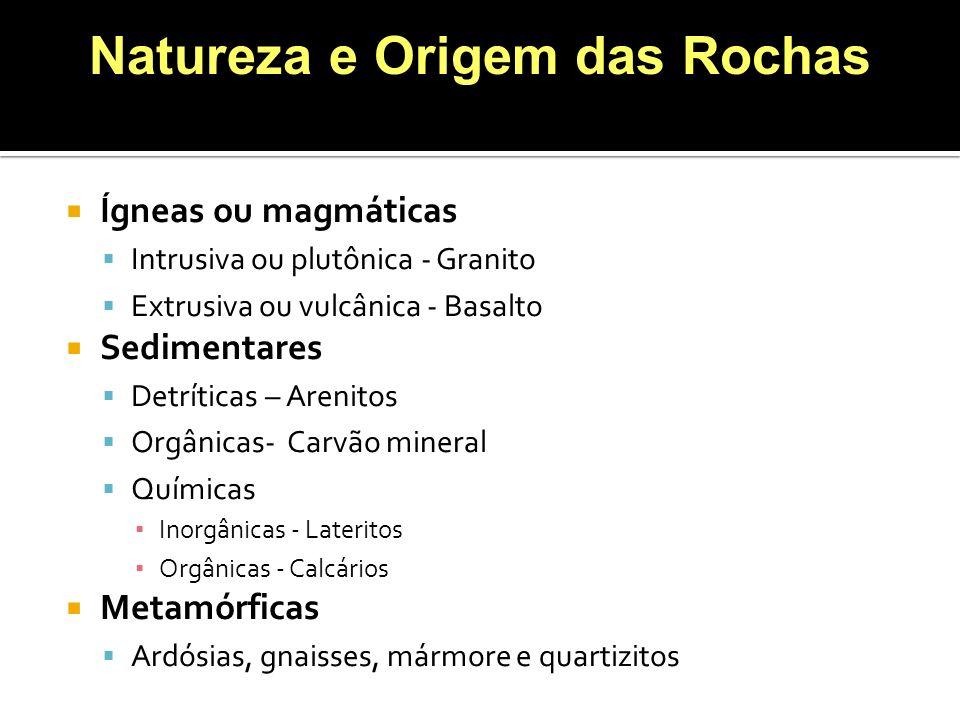 Ígneas ou magmáticas Intrusiva ou plutônica - Granito Extrusiva ou vulcânica - Basalto Sedimentares Detríticas – Arenitos Orgânicas- Carvão mineral Qu