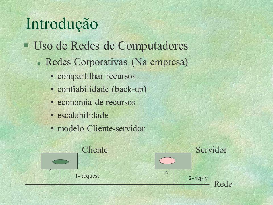 Introdução §Uso de Redes de Computadores l Redes Corporativas (Na empresa) compartilhar recursos confiabilidade (back-up) economia de recursos escalab