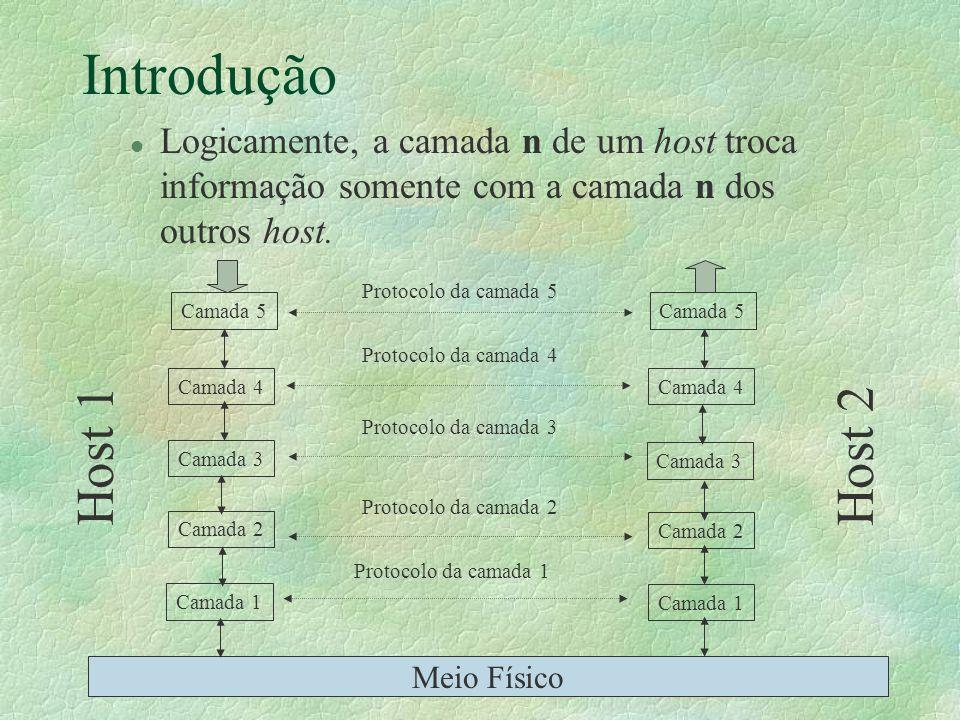 Introdução l Logicamente, a camada n de um host troca informação somente com a camada n dos outros host. Camada 5 Camada 4 Camada 3 Camada 2 Camada 1