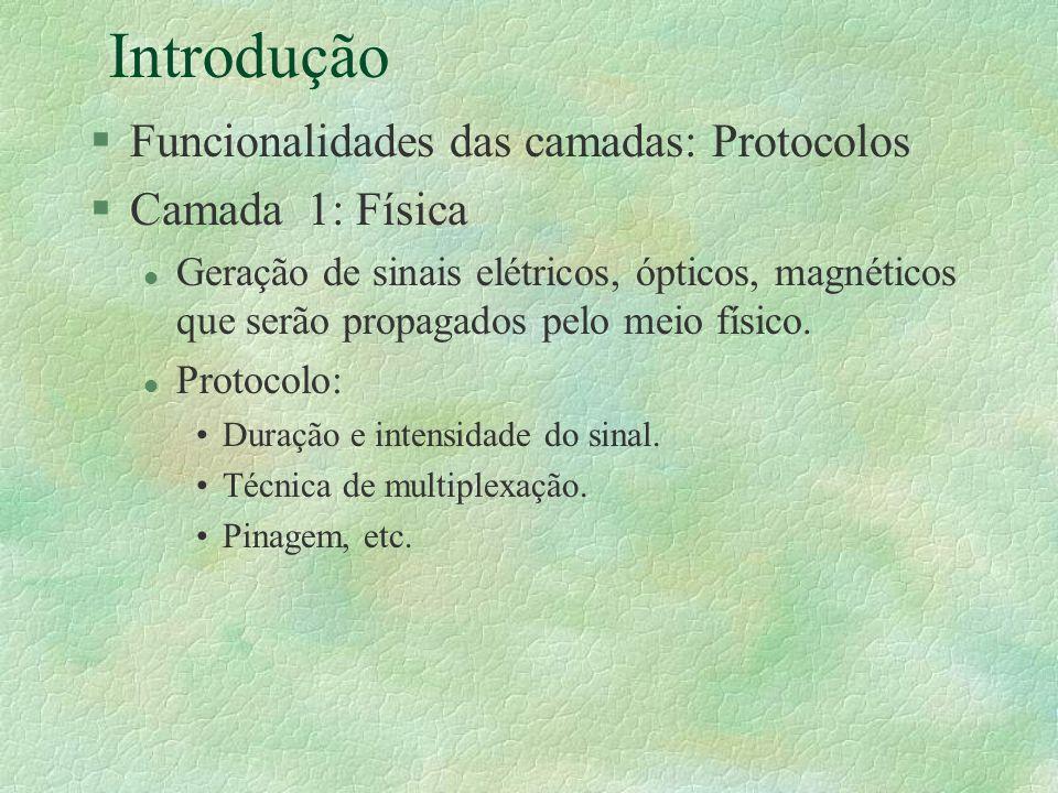 Introdução §Funcionalidades das camadas: Protocolos §Camada 1: Física l Geração de sinais elétricos, ópticos, magnéticos que serão propagados pelo mei