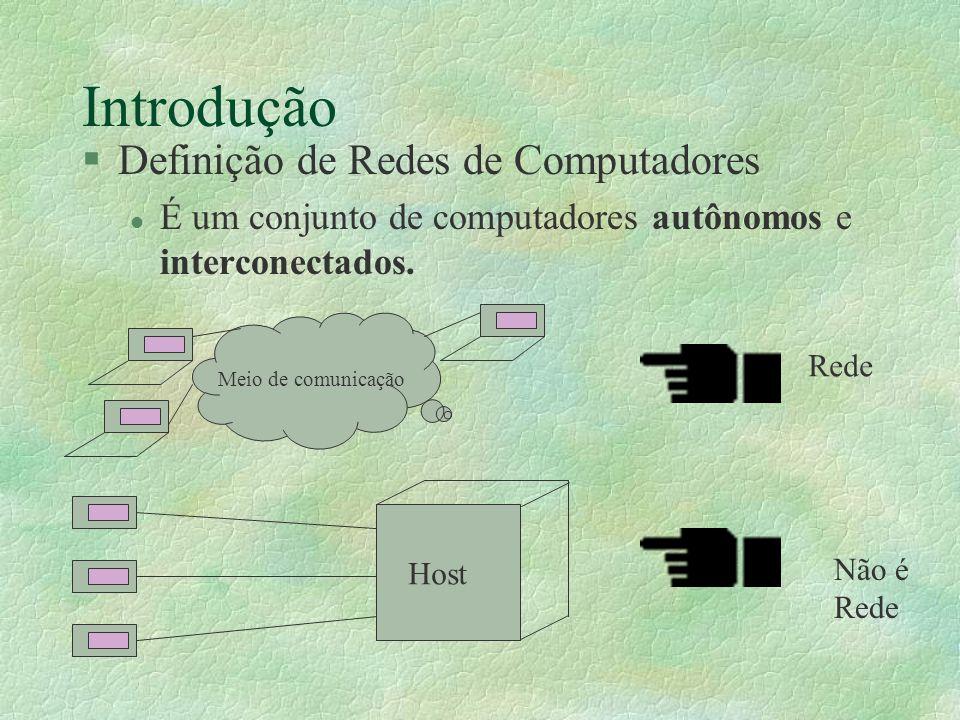 Introdução §Definição de Redes de Computadores l É um conjunto de computadores autônomos e interconectados. Rede Meio de comunicação Host Não é Rede