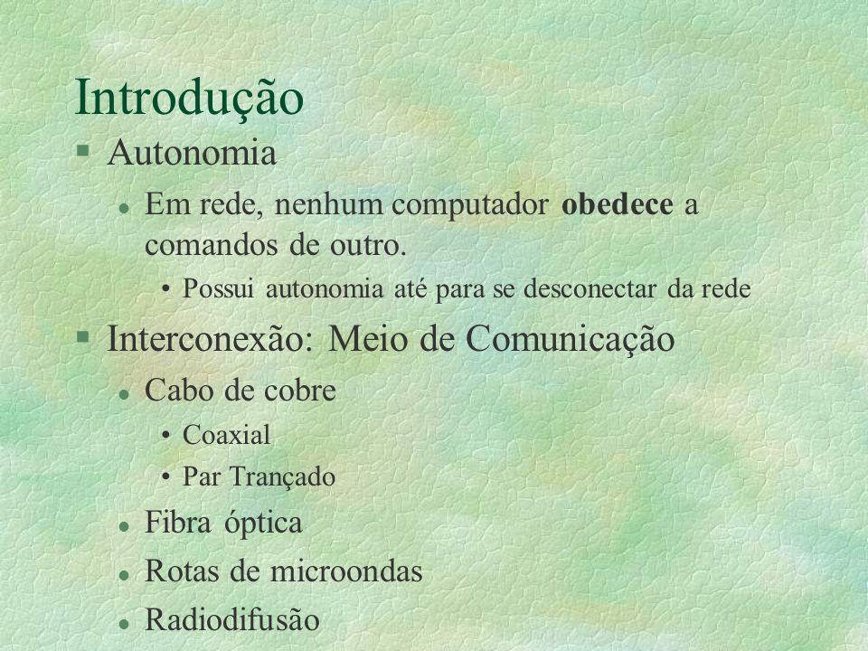 Introdução §Autonomia l Em rede, nenhum computador obedece a comandos de outro. Possui autonomia até para se desconectar da rede §Interconexão: Meio d
