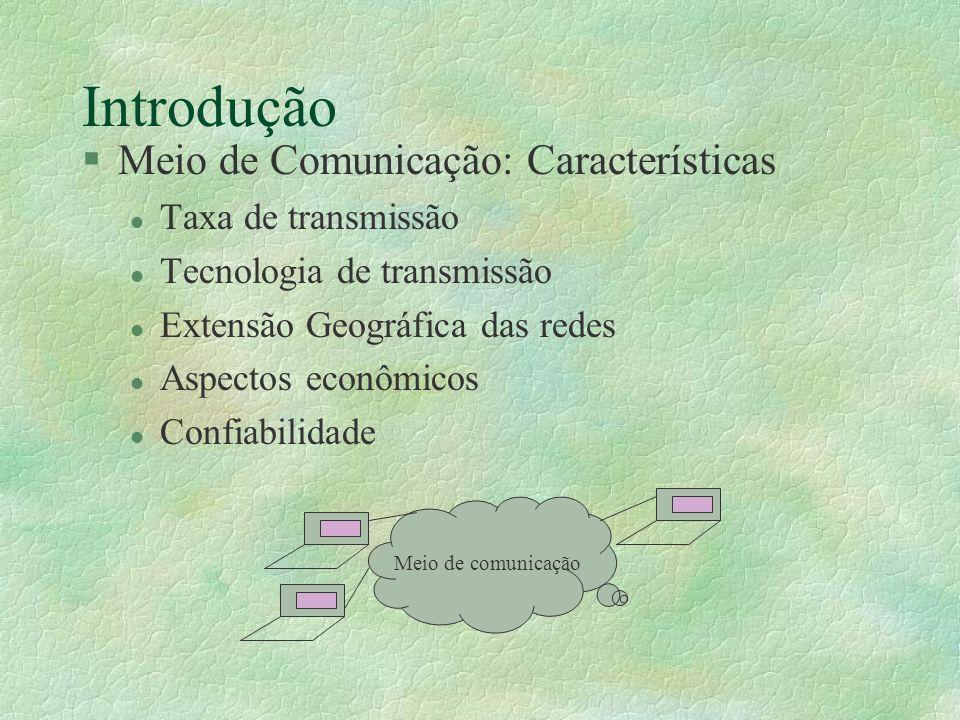 Introdução §Meio de Comunicação: Características l Taxa de transmissão l Tecnologia de transmissão l Extensão Geográfica das redes l Aspectos econômic