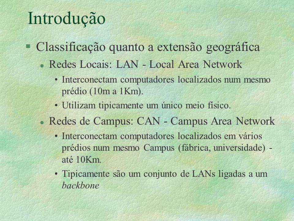 Introdução §Classificação quanto a extensão geográfica l Redes Locais: LAN - Local Area Network Interconectam computadores localizados num mesmo prédi
