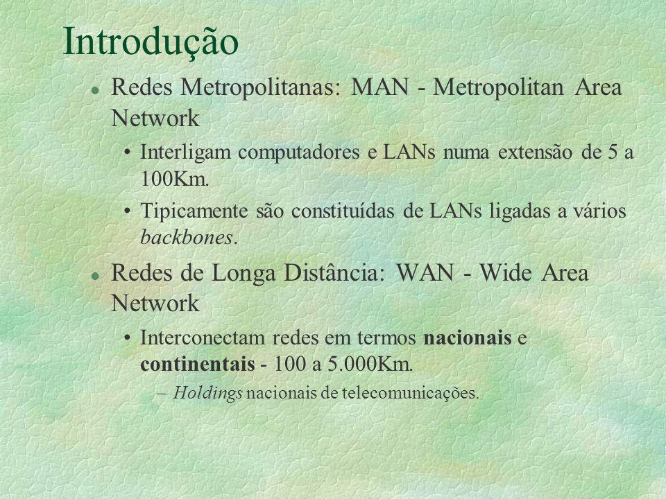 Introdução l Redes Metropolitanas: MAN - Metropolitan Area Network Interligam computadores e LANs numa extensão de 5 a 100Km. Tipicamente são constitu