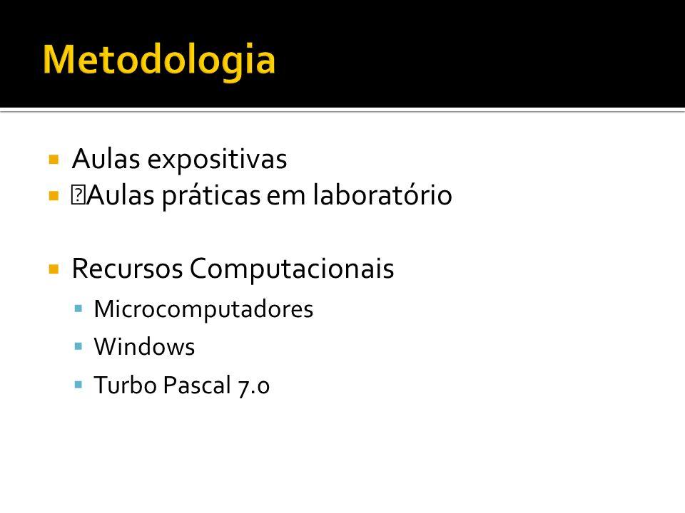 Aulas expositivas ŠAulas práticas em laboratório Recursos Computacionais Microcomputadores Windows Turbo Pascal 7.0