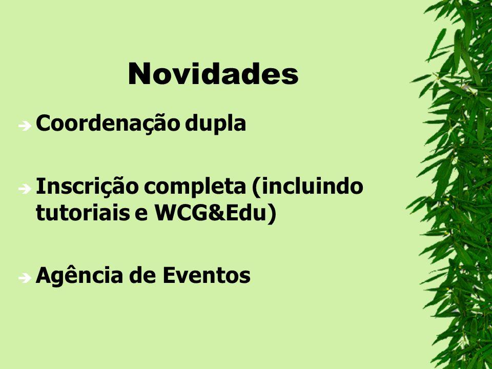 Novidades Coordenação dupla Inscrição completa (incluindo tutoriais e WCG&Edu) Agência de Eventos