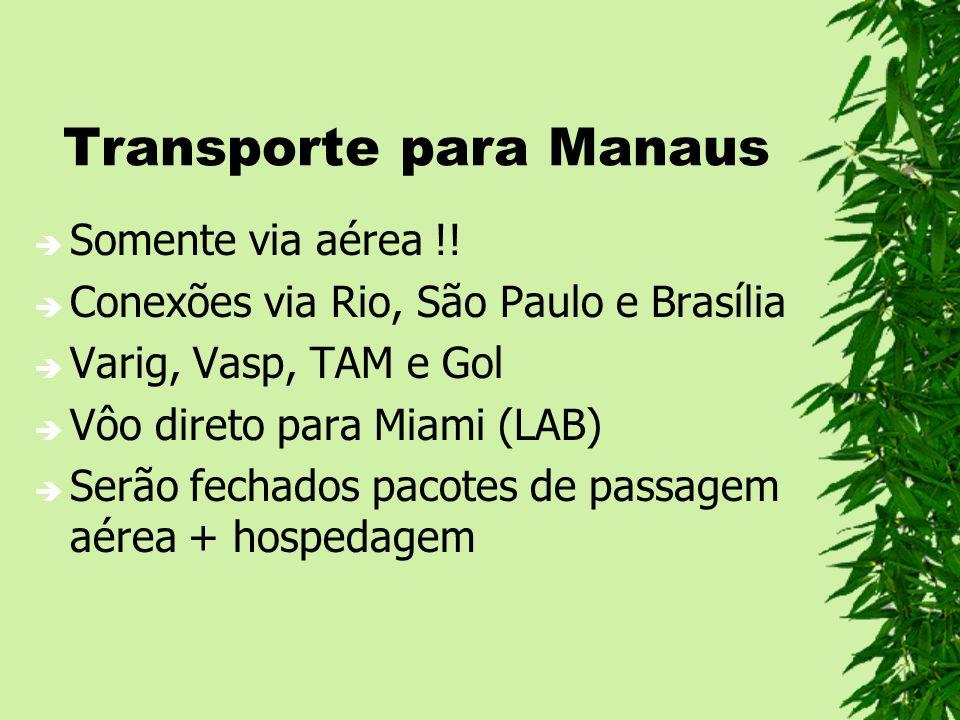 Transporte para Manaus Somente via aérea !! Conexões via Rio, São Paulo e Brasília Varig, Vasp, TAM e Gol Vôo direto para Miami (LAB) Serão fechados p