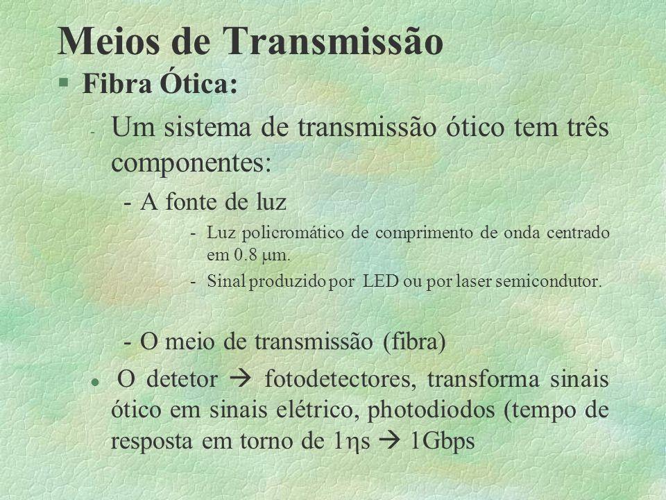 Meios de Transmissão l 50 são denominados de cabos banda básica: um freqüência de transmissão, ou duas se for utilizada modulação FSK.