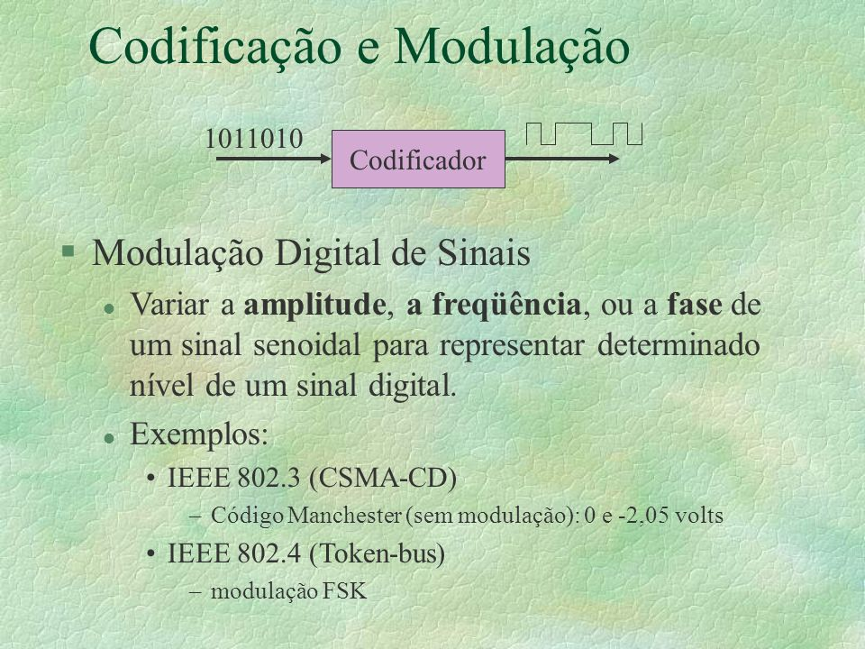 Codificação e Modulação §Modulação Digital de Sinais l Variar a amplitude, a freqüência, ou a fase de um sinal senoidal para representar determinado nível de um sinal digital.