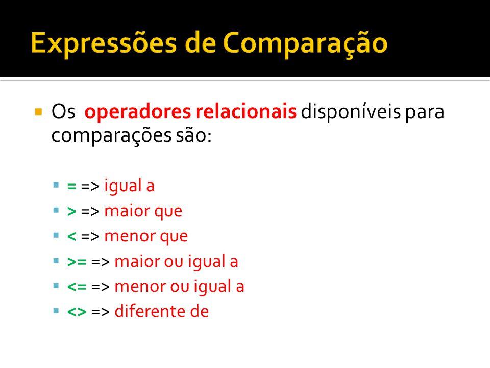 Os operadores relacionais disponíveis para comparações são: = => igual a > => maior que menor que >= => maior ou igual a menor ou igual a <> => difere